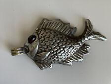 Antique Vintage Tibetan Nepali Silver Fish w Garnet Eye Reversible Pendant 8.5g