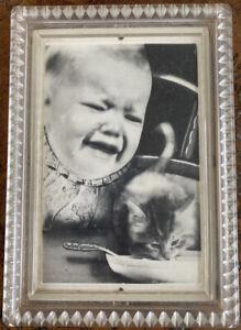 Lamac Lenticular 3-D Multi-Dimensional Framed Baby & Cat Photo-Move Inc. 1950s