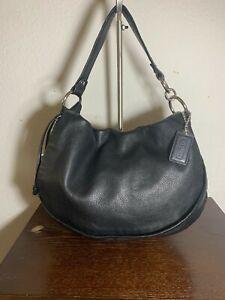 Coach 13648 Ali Large Flap Black Leather Messenger Shoulder Bag Satchel Purse