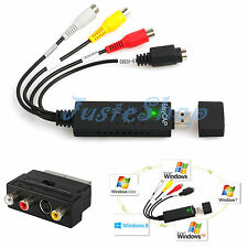 USB VHS To DVD Audio S-Video Video Converter RCA Adapter Capture Kit win 7 win10