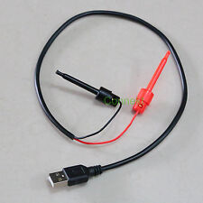 High quality DC POWER USB A plug to Test Hook Clip 4mm elastomer cable 3A 20""