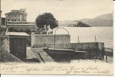 ANTICA CARTOLINA LAGO D' ORTA  VILLA DURIO E ISOLA SAN GIULIO SPEDITA NEL 1908