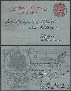 Chile 1896 - Postal stationary on illustrated postcard to Germany...(DD) MV-7445