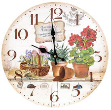 Vintage Country Shabby Chic   Wooden Wall Clock With Garden Pots Design - New