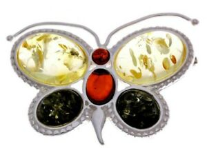Certified 925Sterling Silver & Genuine Multicolour Baltic Amber Butterfly Brooch