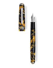 Tibaldi N60 Amber Yellow Resin Fountain Pen, Palladium Trim, Medium Nib