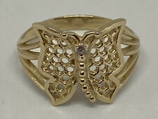 14K Solid Yellow Gold Butterfly Ring