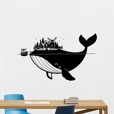 Whale Wall Decal Sea Ocean Boat Fish Vinyl Sticker Nautical Nursery Decor 258hor