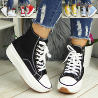 Ladies Canvas Womens Grip Trainers Platform Lace Up Casual Sole Sneakers Shoes