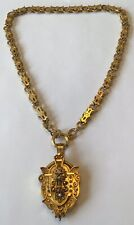 ANTIQUE VICTORIAN DIAMOND & PEARL GOLD ETRUSCAN LOCKET NECKLACE AD4