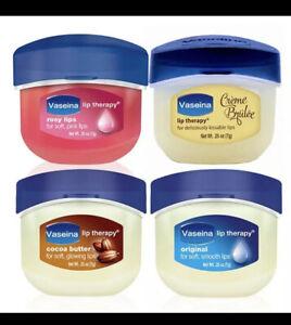 Lot of 4 Vaseline Lip Therapy .25oz Original,Rosy, Cocoa Butter & Creme Brûlée'
