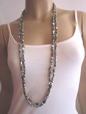 Modekette Bettelkette Damen Hals Kette Perlen Perlmutt Silber Grau Irisierend