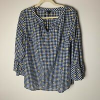 Talbots Women's Top Size Large 3/4 Bell Sleeves Gingham Floral Embroidered