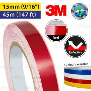 """3M RED Reflective Conspicuity PinStriping Vinyl Decal Tape 15mm 9/16"""" 45m 147ft"""
