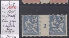 TYPE MOUCHON : 25c bleu (127) millésime 2 neuf