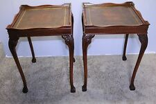 Great Chinese Chippendale  Mahogany Leather Top End / Side Tables Claw Foot