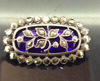 Victorian Silver Brooch Pin Small Blue Glass Marcasite Stones Impressive C.1880s