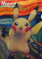 "Pokemon Center JAPAN - Pikachu ""Munch The Scream"" - Plastic Clear File Folder"