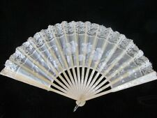 Antique Lace Hand Fan -off white with wood sticks and guard