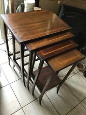 4 Tables Gigognes Art Deco Frise Marqueterie 1930