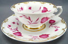 KPM Berlin Hand Painted Pink Floral Leaves & Gold Tea Cup Circa 1837 - 1844