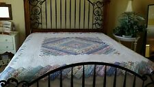 "VINTAGE Handmade Hand Quilted Blue Floral Patchwork Quilt Zig Zag Edges 84""x84""."