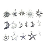 30pcs Pack Vintage Silver Metal Sun Moon Star Pendant Charm Mixed Jewelry Crafts