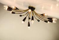 Decken Lampe Messing & Schwarz Sputnik Spider Leuchte Top Design Vintage 50er