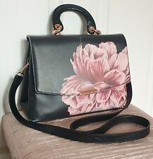 Ted Baker Black Tranquility Handbag Satchel Crossbody Floral Rose Gold Medium