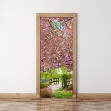 Door Mural Japanese garden Sakura - Self Adhesive Fabric Door Wrap Wall Sticker