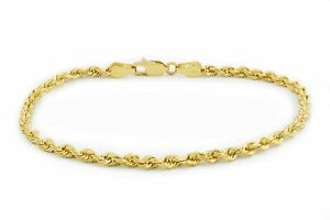 """Real 14K Yellow Gold 2.5mm Diamond Cut Rope Chain Link Bracelet Anklet 7"""" 8"""" 9"""""""