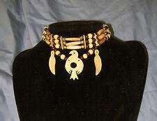 Handmade Native American Buffalo Bone Carved Thunderbird Choker Necklace