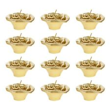 "Mega Candles - Unscented 3"" Floating Flower Candles - Gold, Set of 12"