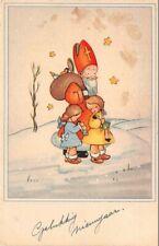 CPA fantaisie - Père Noel et enfants