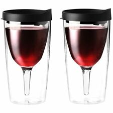 Vino2Go Double Wall Insulated Acrylic Wine Tumbler with Black Slide Lid, 2 Pack