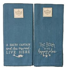 Set of 2 COASTAL BEACH Theme Embroidered Blue Waffle Weave Towels, Country House