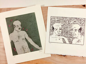 PAIR ORIGINAL MODERN ART, SIGNED NUMBERED, KIM ALEXANDER, PRINT ETCHING, OLD MEN