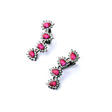 Boucles d`Oreilles Clips Argenté Noir Au tour de l`oreille Goutte Rose Vif J6