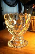Avon Clear Glass Ovalique Bubble Scallop Footed Candy Dish -Votive Candle Holder