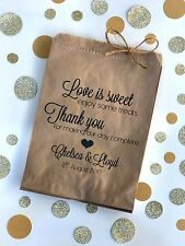 Personalised Wedding Engagement Lolly Favour Paper Bags - Set of 25 Brown White