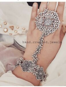 New Indian Traditional Bollywood Silver Hand Bracelet With Ring Beautiful Set