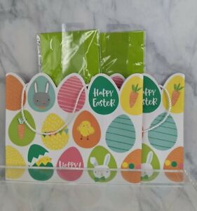 """2 Happy Easter Holiday Gift Bags w/Tissue Paper 9.25"""" x 5""""x 7.5"""" Bunnies Chicks"""