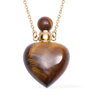 "Goldtone Tigers Eye Perfume Bottle Necklace Jewelry For Her Size 22"" Ct 80"