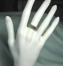 CM 14K White Gold Ring w 44 Diamonds & 6 Colored Natural Sapphires 5.1 grams