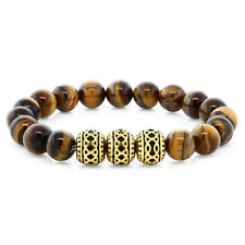 7 Inch Round 10mm Tiger's Eye Beaded Stretchy Bracelet With 3 Gold Design