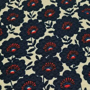 """Quilted Jersey Fabric Navy Floral Printed Ivory Colour 55"""" Wide"""