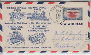 NAMW C23 DEEPWATER NJ MAY 19 1938 DEPICTS 80 YEARS PROGRESS SERVICE COAST-COAST