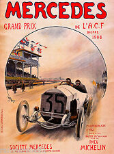 1908 Mercedes Grand Prix Automobile Race Car Advertisement Vintage Poster