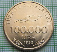 TURKEY 1999 100.000 LIRA, 75th ANNIV OF REPUBLIC, MUSTAFA KEMAL ATATURK, UNC