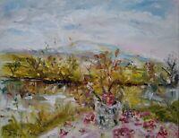 Impressionism Jar of Spring Flowers, Wensleydale OIL PAINTING CANVAS dales.